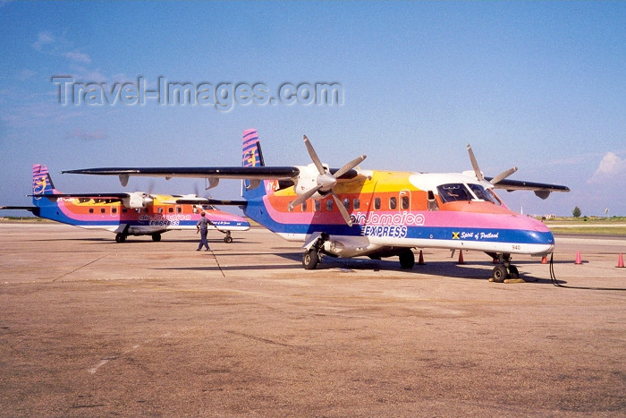 jamaica9: Montego bay / MBJ : colourful airline - Air Jamaica Express - Spirit of Portland on the tarmac Dornier Do-228 aircraft (photo by Miguel Torres) - (c) Travel-Images.com - Stock Photography agency - Image Bank