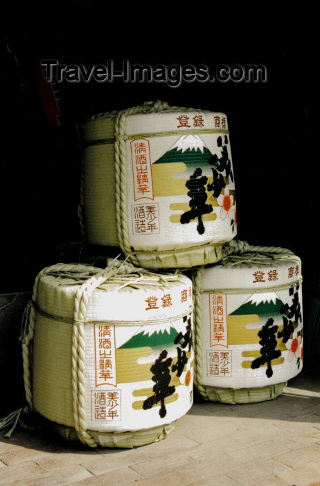 japan41: Japan - Fukuoka - island of Kyushu: three barrels of sake - photo by S.Lapides - (c) Travel-Images.com - Stock Photography agency - Image Bank