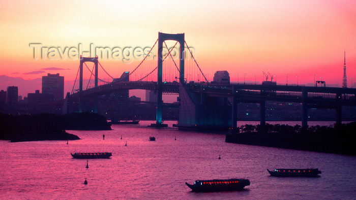 japan82: Rainbow bridge - suspension bridge crossing northern Tokyo Bay, Tokyo, Japan. photo by B.Henry - (c) Travel-Images.com - Stock Photography agency - Image Bank