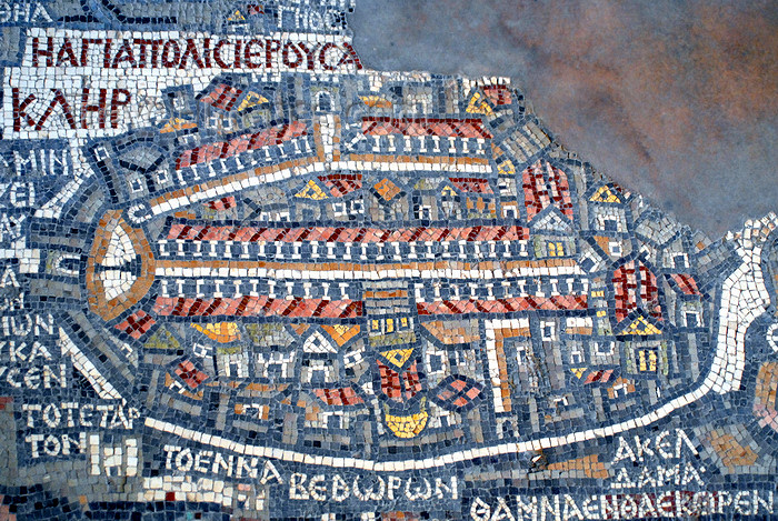 jordan10: Madaba - Jordan: Map of Jerusalem - displaying the Golden, Dung, Zion, Jaffa, St. Stephen's and Damascus gates, city walls, Church of the Holy Sepulchre, Temple Mount, the Cardo...  - Mosaic map of the Holy Land - Greek Orthodox Church of St. George - photo by M.Torres - (c) Travel-Images.com - Stock Photography agency - Image Bank