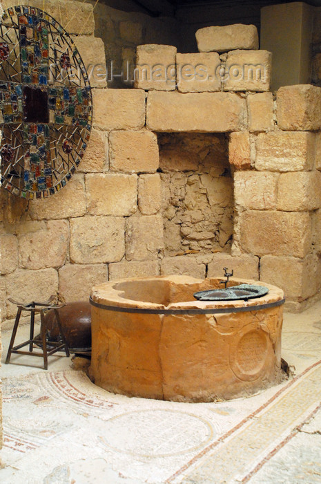 jordan111: Mount Nebo - Madaba governorate - Jordan: VII century baptistery in the basilica - south side of the church - baptismal font, bearing bishop Sergios' name - photo by M.Torres - (c) Travel-Images.com - Stock Photography agency - Image Bank