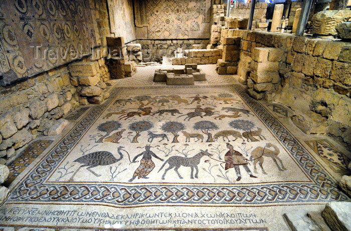 jordan119: Mount Nebo - Madaba governorate - Jordan: mosaic in the old diaconicon baptistery of the basilica, depicting pastoral and hunting scenes - photo by M.Torres - (c) Travel-Images.com - Stock Photography agency - Image Bank