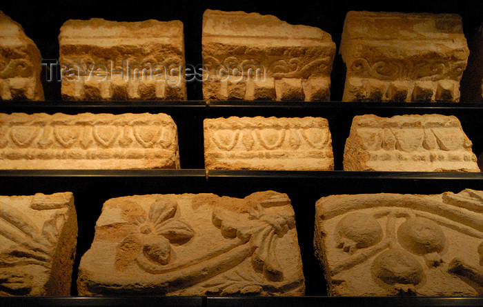jordan160: Jerash - Jordan: decorated entablature stones at the museum - Roman city of Gerasa - photo by M.Torres - (c) Travel-Images.com - Stock Photography agency - Image Bank