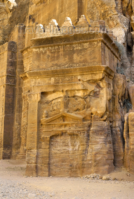jordan21: Jordan - Petra: unfinished tomb, with a nefesh crown - Street of Facades - photo by M.Torres - (c) Travel-Images.com - Stock Photography agency - Image Bank