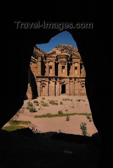 jordan247: Jordan - Petra: Ad Deir seen from a cave - the Monastery - UNESCO world heritage site - photo by M.Torres - (c) Travel-Images.com - Stock Photography agency - Image Bank
