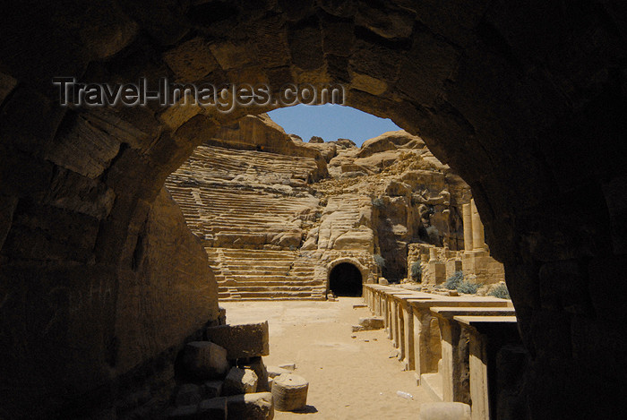 jordan271: Jordan - Petra:  the Theatre - barrel-vaulted tunnel, the parados, leads onto the orchestra - photo by M.Torres - (c) Travel-Images.com - Stock Photography agency - Image Bank