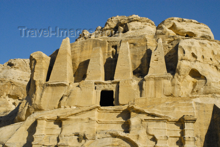 jordan273: Jordan - Petra: Tomb of the Obelisks on Bab-as-Siq - upper floor - photo by M.Torres - (c) Travel-Images.com - Stock Photography agency - Image Bank