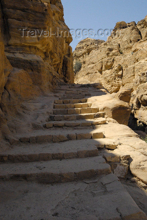 jordan275: Jordan - Petra: Wadi ad Deir - stairs - photo by M.Torres - (c) Travel-Images.com - Stock Photography agency - Image Bank