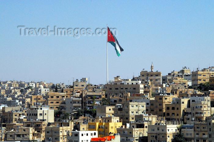 jordan8: Amman - Jordan: Jordanian flag over the city - photo by M.Torres - (c) Travel-Images.com - Stock Photography agency - Image Bank