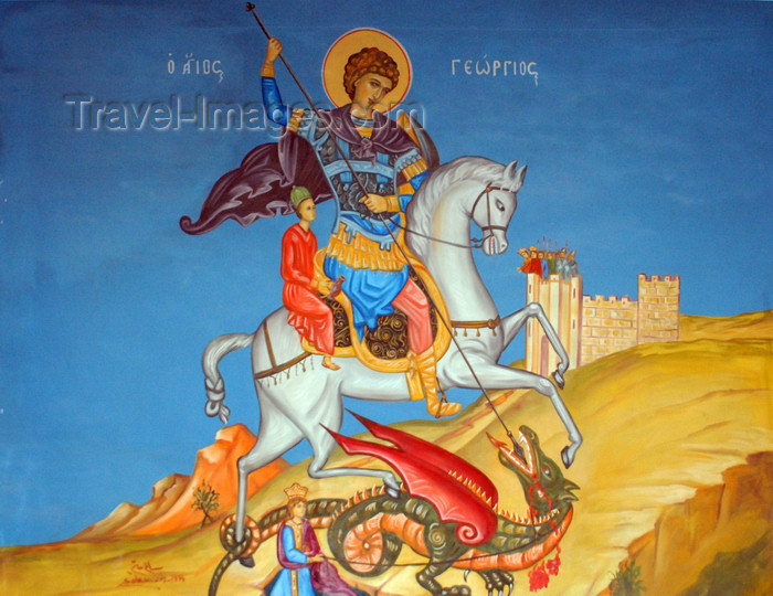 jordan98: Madaba - Jordan: St George slains the dragon - fresco - Greek Orthodox Church of St. George - photo by M.Torres - (c) Travel-Images.com - Stock Photography agency - Image Bank