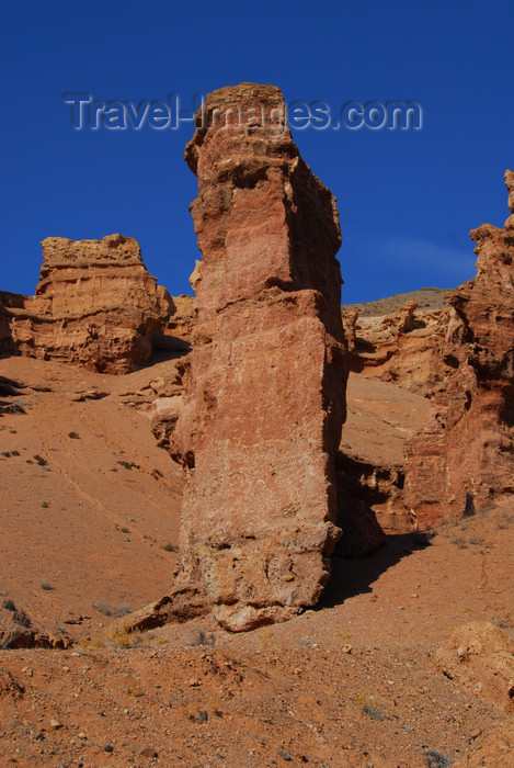 kazakhstan119: Kazakhstan, Charyn Canyon: Valley of the Castles - bright red rock formation - photo by M.Torres - (c) Travel-Images.com - Stock Photography agency - Image Bank