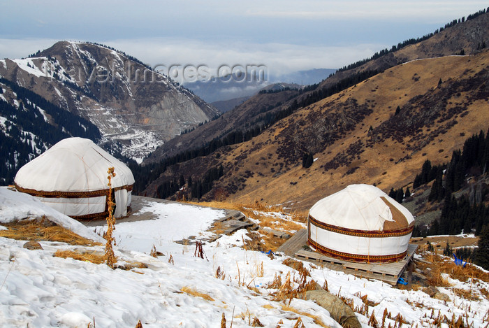 kazakhstan135: Kazakhstan - Chimbulak ski-resort, Almaty: yurts and the Alatau Mountains - photo by M.Torres - (c) Travel-Images.com - Stock Photography agency - Image Bank