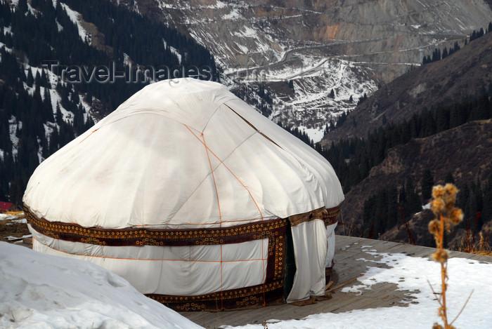 kazakhstan136: Kazakhstan - Chimbulak ski-resort, Almaty: 'Café yurta' - yurt and the  Alatau Mountains - photo by M.Torres - (c) Travel-Images.com - Stock Photography agency - Image Bank
