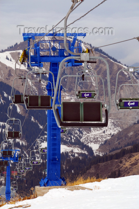 kazakhstan144: Kazakhstan - Chimbulak ski-resort, Almaty: chair lift and the  Alatau Mountains - intermediate tower on the 2nd stage - photo by M.Torres - (c) Travel-Images.com - Stock Photography agency - Image Bank