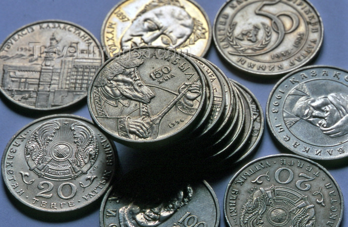 kazakhstan15: Kazakhstan - Kazak currency - Tenge (KZT)  - Tenge coins - poet Jambil Jabayev - Zhambil - Dzhambil -  musician - money - photo by V.Sidoropolev - (c) Travel-Images.com - Stock Photography agency - Image Bank