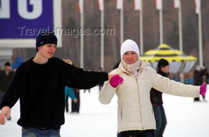kazakhstan157: Kazakhstan,Medeu ice stadium, Almaty: a couple enjoys the ice - photo by M.Torres - (c) Travel-Images.com - Stock Photography agency - Image Bank