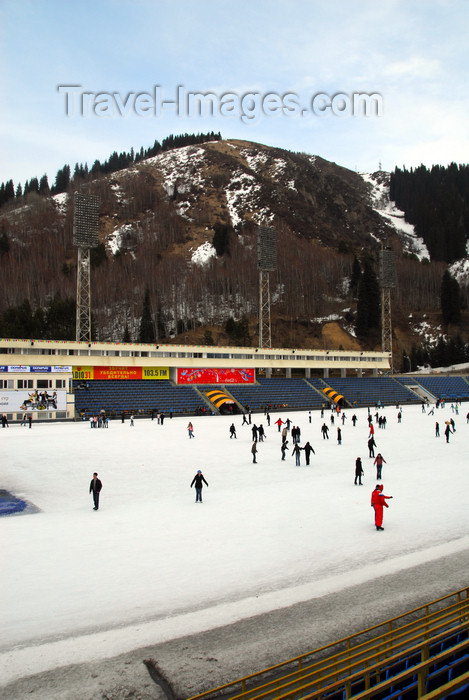 kazakhstan168: Kazakhstan,Medeu ice stadium, Almaty: under the mountain - photo by M.Torres - (c) Travel-Images.com - Stock Photography agency - Image Bank