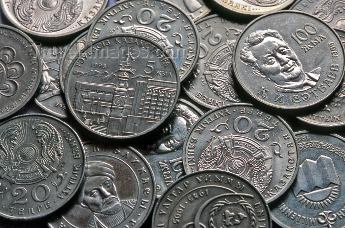 kazakhstan17: Kazakhstan: Kazak currency - Tenge (KZT) coins - money - photo by V.Sidoropolev - (c) Travel-Images.com - Stock Photography agency - Image Bank