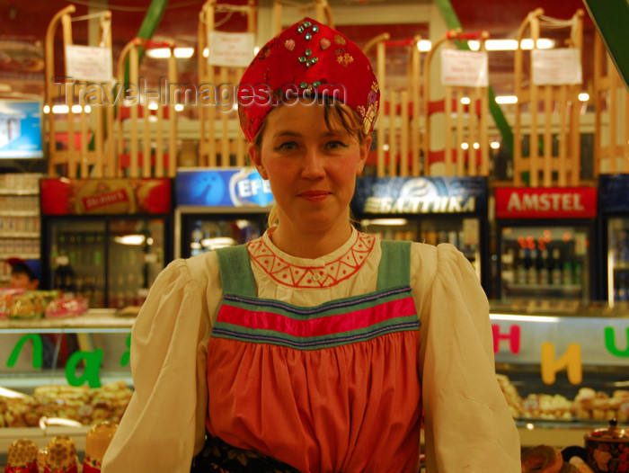 kazakhstan206: Kazakhstan, Almaty: Russian girl selling delicatessen - photo by M.Torres - (c) Travel-Images.com - Stock Photography agency - Image Bank