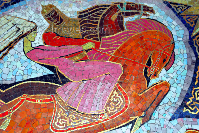kazakhstan207: Kazakhstan, Almaty: warrior and damsel - mosaic at the Almaty hotel - photo by M.Torres - (c) Travel-Images.com - Stock Photography agency - Image Bank