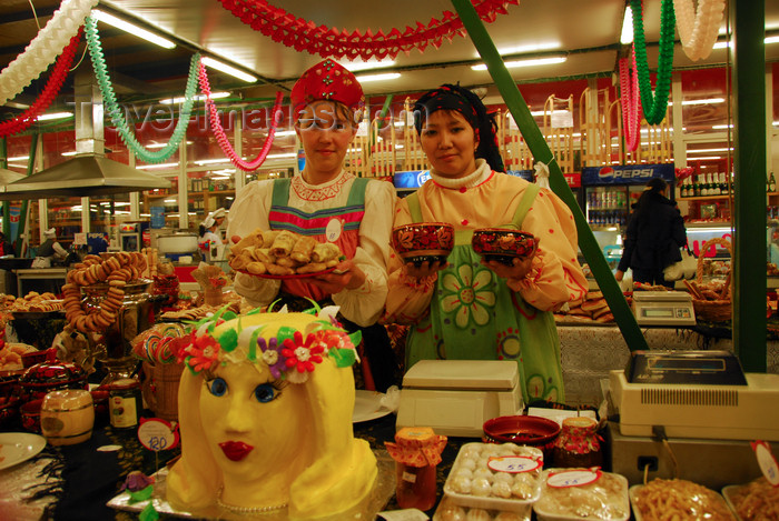 kazakhstan209: Kazakhstan, Almaty: Russian and Kazakh girls selling delicatessen - photo by M.Torres - (c) Travel-Images.com - Stock Photography agency - Image Bank