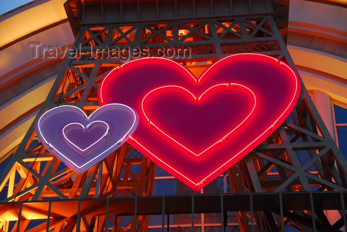 kazakhstan217: Kazakhstan, Almaty: the French house - mock Eiffel Tower - valentine's day hearts - neons - photo by M.Torres - (c) Travel-Images.com - Stock Photography agency - Image Bank
