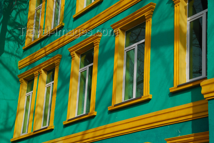 kazakhstan218: Kazakhstan, Almaty: green and orange façade of an hospital - photo by M.Torres - (c) Travel-Images.com - Stock Photography agency - Image Bank