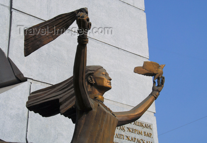 kazakhstan232: Kazakhstan, Almaty: Zheltoksan / Dawn of Liberty monument - statue with dove - photo by M.Torres - (c) Travel-Images.com - Stock Photography agency - Image Bank