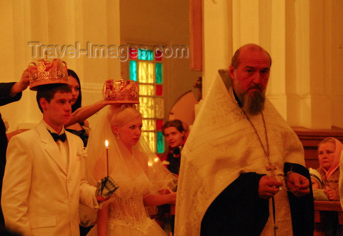 kazakhstan242: Kazakhstan, Almaty:  Holy Ascension Russian Orthodox Cathedral - wedding - the priest - photo by M.Torres - (c) Travel-Images.com - Stock Photography agency - Image Bank