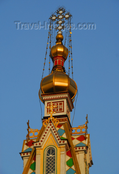 kazakhstan251: Kazakhstan, Almaty:  Holy Ascension Russian Orthodox Cathedral - golden onion - photo by M.Torres - (c) Travel-Images.com - Stock Photography agency - Image Bank
