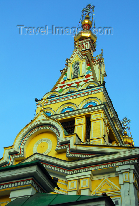 kazakhstan254: Kazakhstan, Almaty:  Holy Ascension Russian Orthodox Cathedral - bell tower - photo by M.Torres - (c) Travel-Images.com - Stock Photography agency - Image Bank