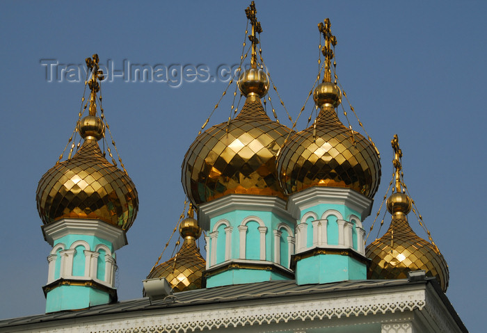 kazakhstan261: Kazakhstan, Almaty:  St Nicholas Church - Russian Orthodox - Nikolsky Sobor - golden onions - photo by M.Torres - (c) Travel-Images.com - Stock Photography agency - Image Bank
