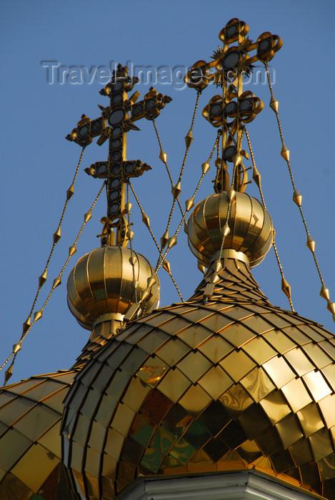 kazakhstan265: Kazakhstan, Almaty:  St Nicholas Church - Russian Orthodox - Nikolsky Sobor - twin crosses - photo by M.Torres - (c) Travel-Images.com - Stock Photography agency - Image Bank