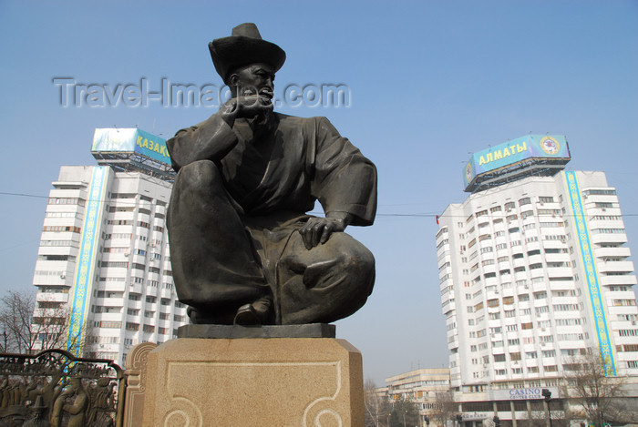 kazakhstan276: Kazakhstan, Almaty: Republic square - statue and towers - photo by M.Torres - (c) Travel-Images.com - Stock Photography agency - Image Bank