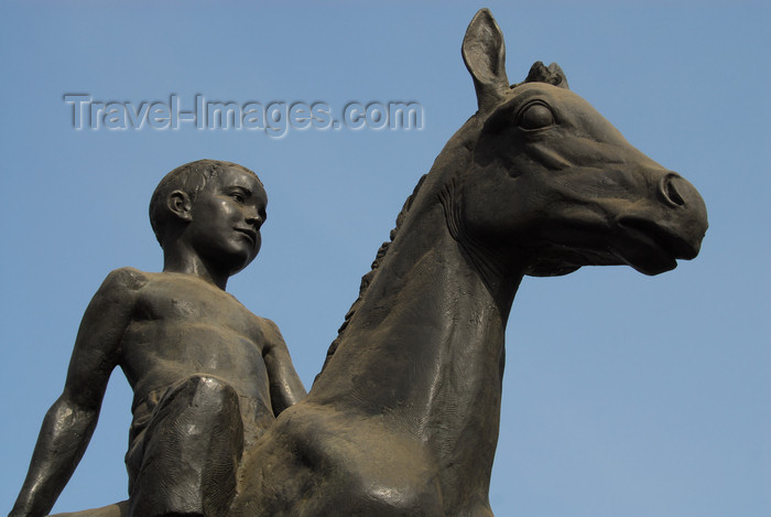 kazakhstan278: Kazakhstan, Almaty: Republic square - boy on horse - detail - photo by M.Torres - (c) Travel-Images.com - Stock Photography agency - Image Bank