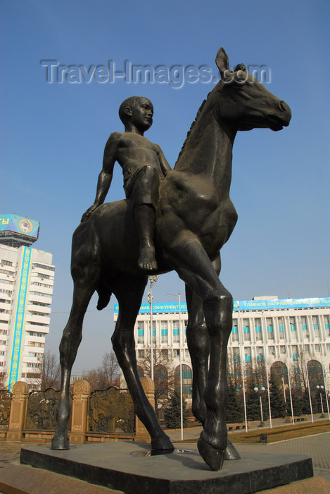 kazakhstan284: Kazakhstan, Almaty: Republic square - boy on horse - photo by M.Torres - (c) Travel-Images.com - Stock Photography agency - Image Bank