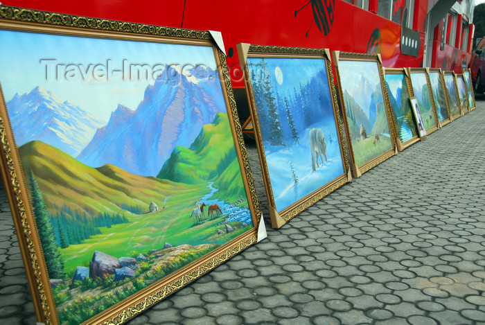 kazakhstan317: Kazakhstan, Almaty: Arbat - Zhybek-Zholy, or Silk road street - mountain landscapes painted by a local artist - photo by M.Torres - (c) Travel-Images.com - Stock Photography agency - Image Bank
