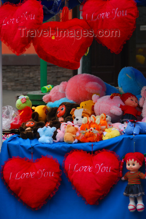 kazakhstan323: Kazakhstan, Almaty: Arbat - Zhybek-Zholy, or Silk road street - hearts for sale - valentine's day - photo by M.Torres - (c) Travel-Images.com - Stock Photography agency - Image Bank