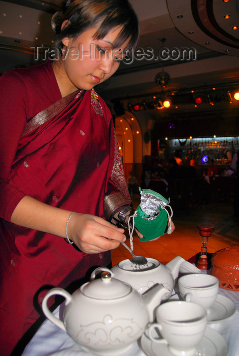 kazakhstan331: Kazakhstan, Almaty: tea being served - photo by M.Torres - (c) Travel-Images.com - Stock Photography agency - Image Bank