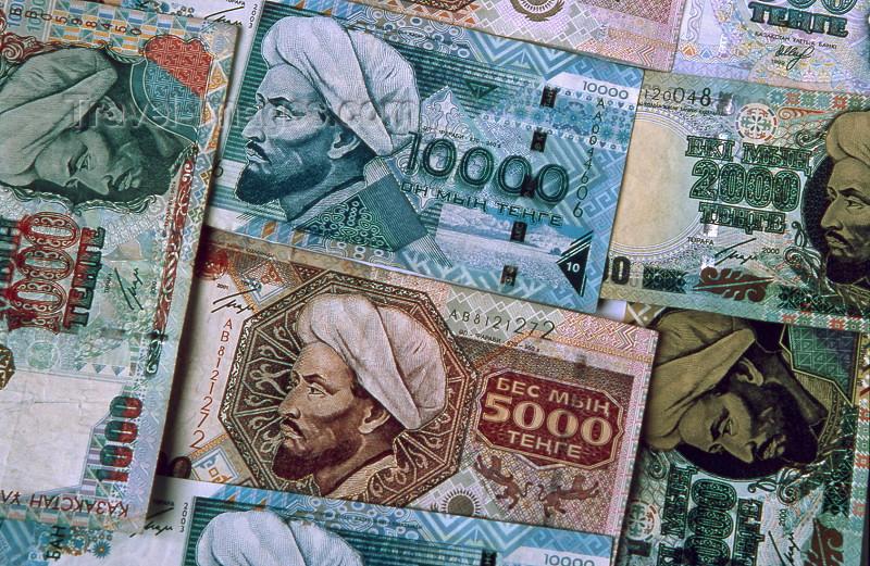 kazakhstan4: Kazakhstan: Kazak currency - Tenge (KZT) bank notes - money - photo by V.Sidoropolev - (c) Travel-Images.com - Stock Photography agency - Image Bank
