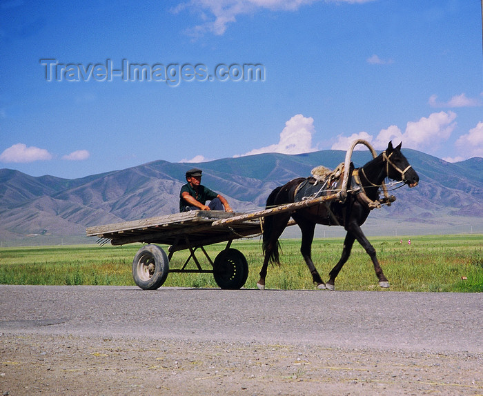 kazakhstan42: Kazakhstan - Almaty oblys: on a road in the countryside, a horse pulling a cart - photo by E.Petitalot - (c) Travel-Images.com - Stock Photography agency - Image Bank