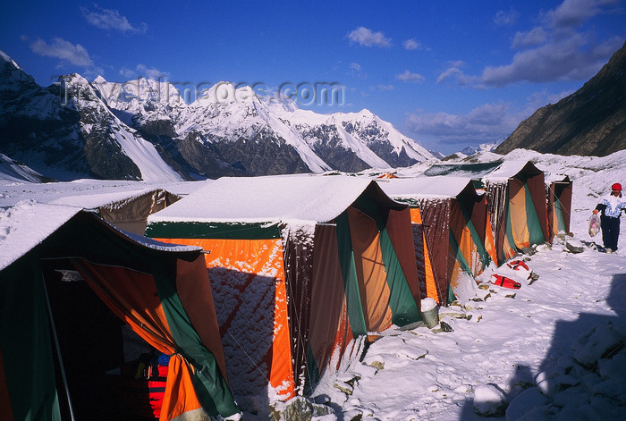 kazakhstan54: Kazakhstan - Tian Shan mountain range: mountaineering base camp on a glacier at the bottom of Khan Tengri mountain - tents - photo by E.Petitalot - (c) Travel-Images.com - Stock Photography agency - Image Bank