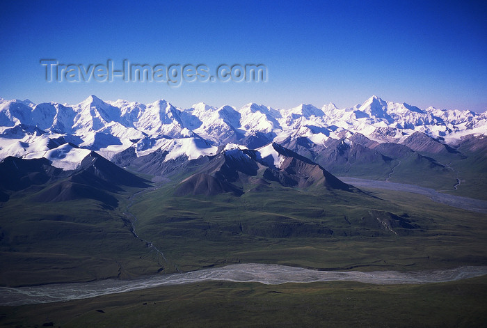 kazakhstan61: Kazakhstan - Tian Shan range, glaciers and river - photo by E.Petitalot - (c) Travel-Images.com - Stock Photography agency - Image Bank