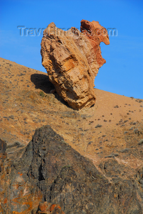 kazakhstan84: Kazakhstan, Charyn Canyon: Valley of the Castles - giant rock about to fall into the canyon - photo by M.Torres - (c) Travel-Images.com - Stock Photography agency - Image Bank