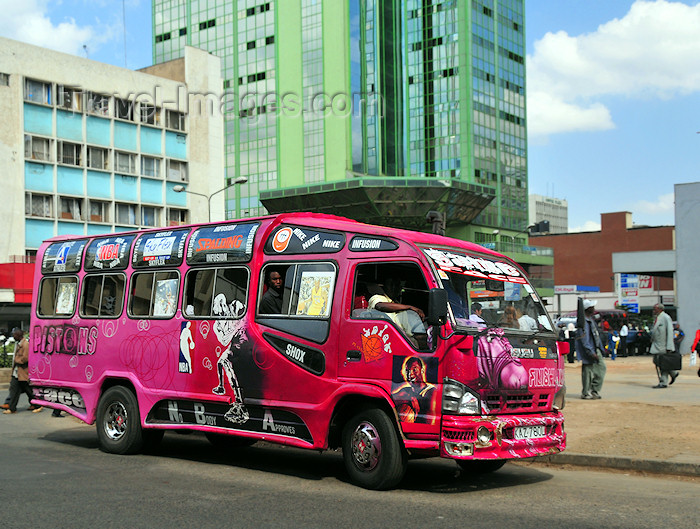 kenya25: Nairobi, Kenya: matatu share taxi near Afya Centre - Tom Mboya St - downtown traffic - photo by M.Torres - (c) Travel-Images.com - Stock Photography agency - Image Bank