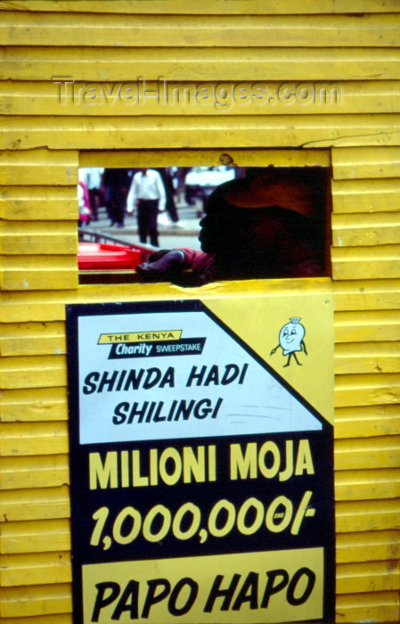 kenya28: Kenya - Nairobi: lottery booth (photo by F.Rigaud) - (c) Travel-Images.com - Stock Photography agency - Image Bank