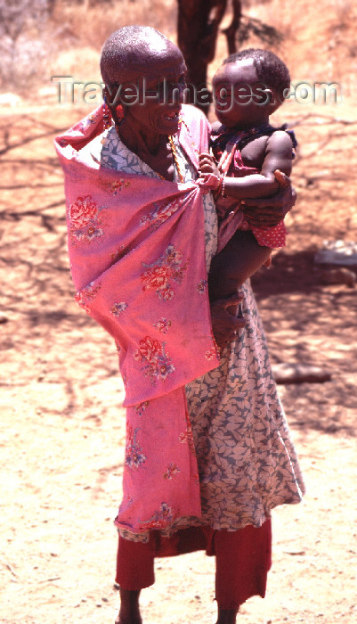 kenya51: Kenya - blind Masai with toddler - photo by F.Rigaud - (c) Travel-Images.com - Stock Photography agency - Image Bank