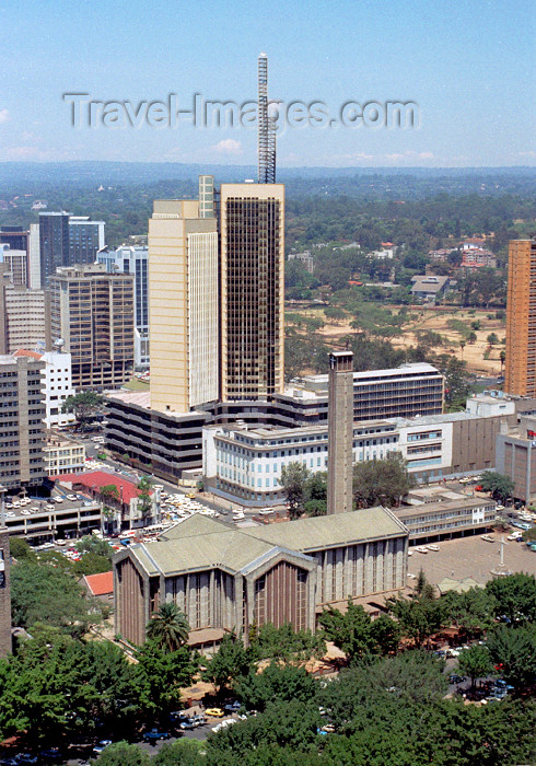 kenya61: Africa - Nairobi: View NW from the Kenyatta Conference Centre Tower - Holy Family Cathedral Basilica - photo by F.Rigaud - (c) Travel-Images.com - Stock Photography agency - Image Bank