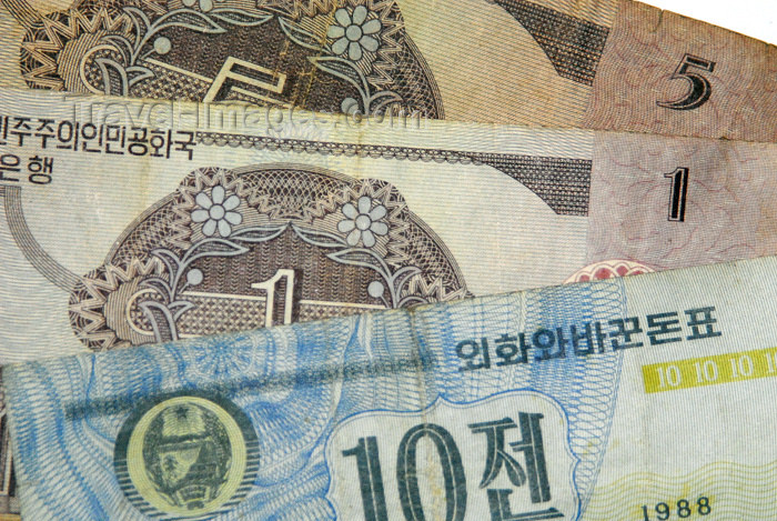 korean11: North Korea / DPRK - Won bank notes - North Korean currency  (photo by Miguel Torres) - (c) Travel-Images.com - Stock Photography agency - Image Bank