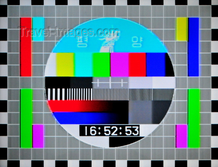 korean36: Pyongyang, North Korea / DPRK: North Korean TV test card - test pattern in North America - television test signal - Korean Central Television (KCTV) - photo by M.Torres - (c) Travel-Images.com - Stock Photography agency - Image Bank